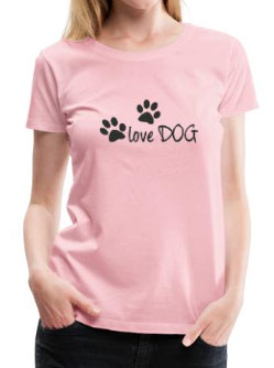 Shirt rosa mit Motiv Love Dog